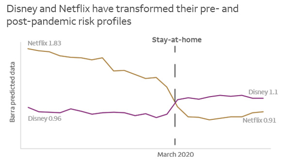Netflix's risk profile decreased by almost half after the start of the pandemic, while Disney's increased slightly.